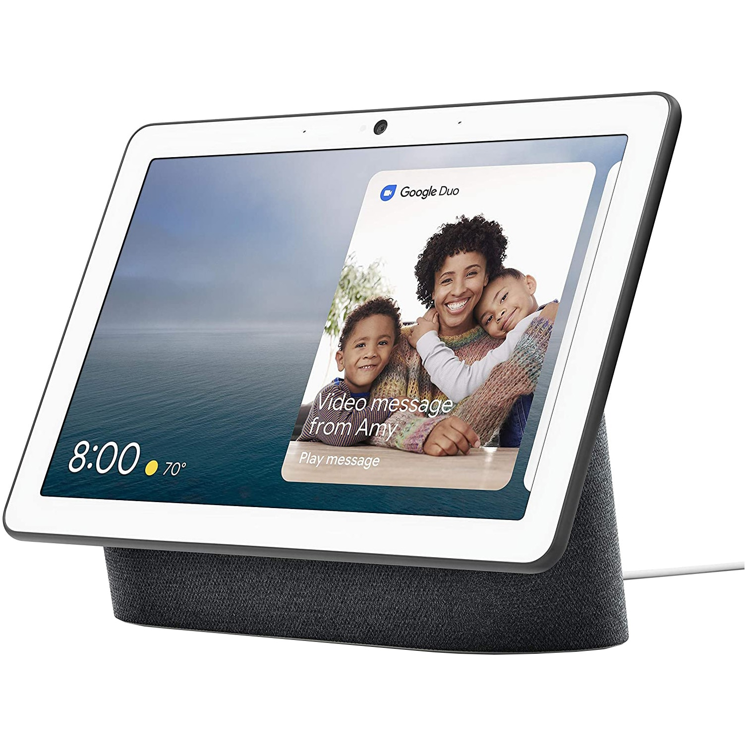 "Fotografie Boxa inteligenta Google Nest Hub Max, HD touchscreen 10"", Camera wide 6.5 MP, Difuzoare stereo, Wi-Fi, Negru"