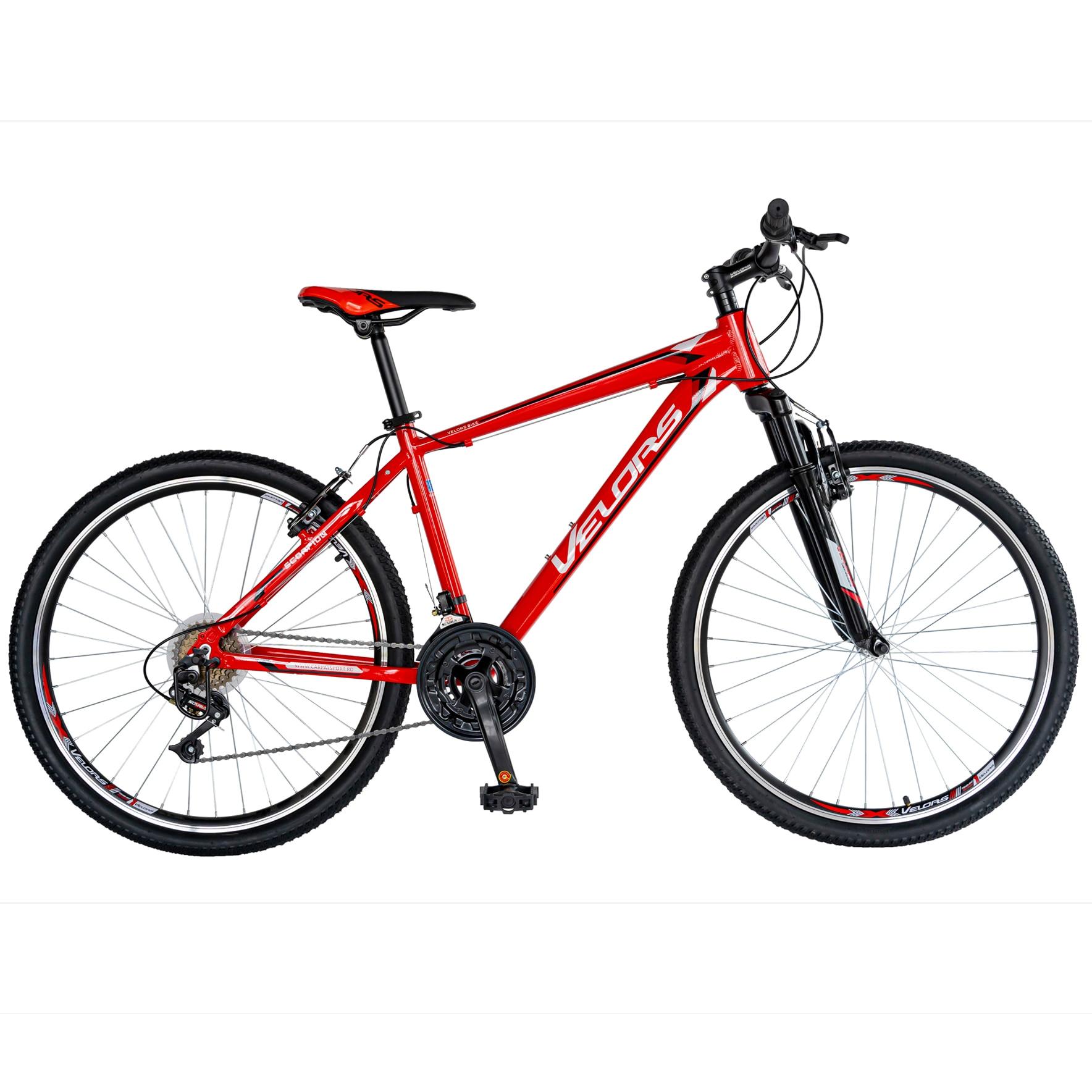 "Fotografie Bicicleta MTB 26"" Velors V2671, cadru AL, janta dubla, Alb/Rosu"