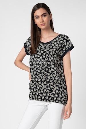 Esprit, Tricou din bumbac organic, cu model floral, Bleumarin/Alb, M