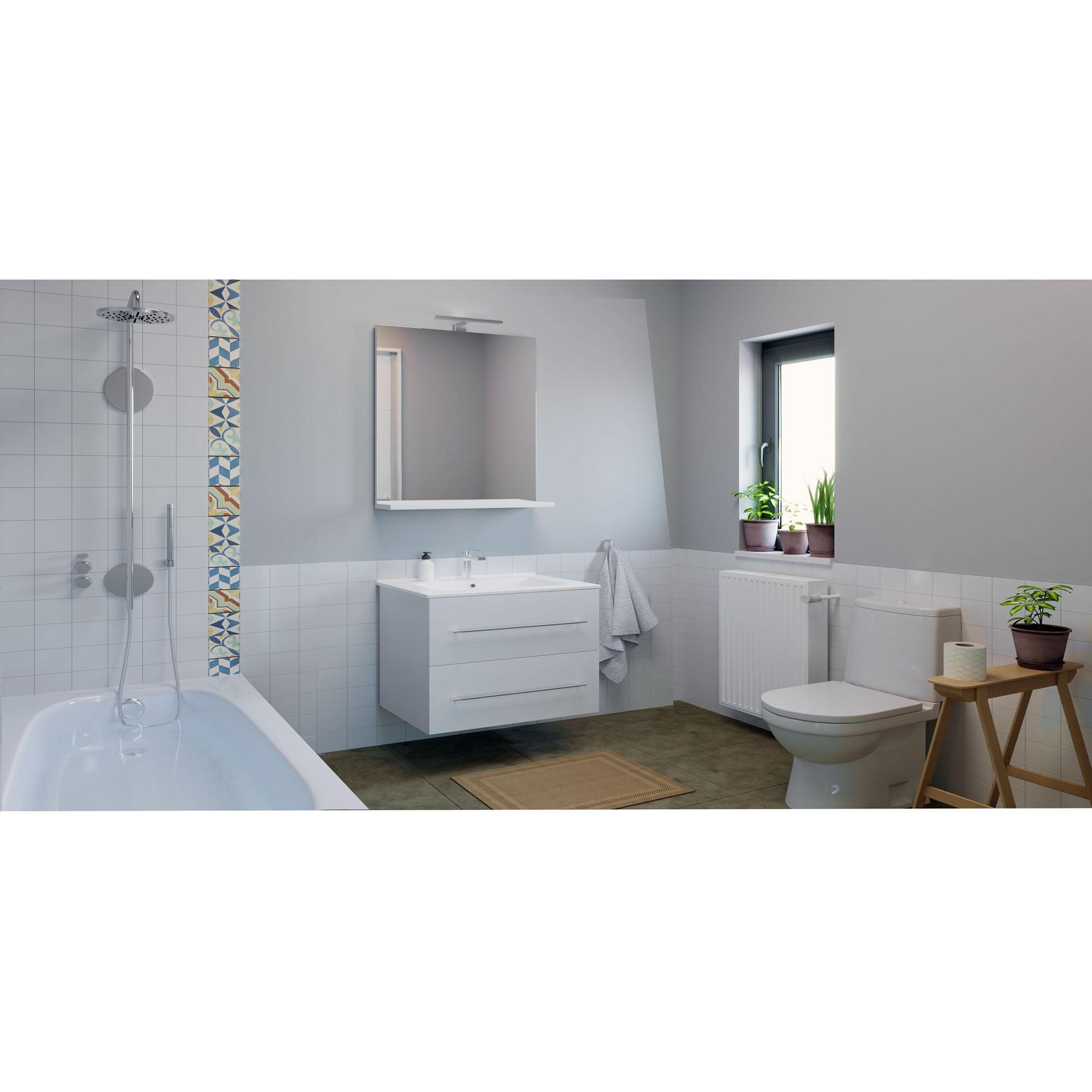 Fotografie Baza mobilier si lavoar Badenmob 054, suspendat, sertare, alb, 80 cm