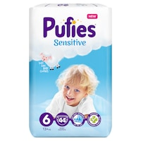 Pufies Sensitive Pelenka, 6 Extra Large, Maxi Pack, 13+ kg, 44 db