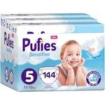 Пелени Pufies Sensitive, 5 Junior, Месечен пакет, 11-16 кг, 144 броя