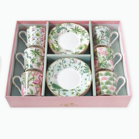 Porcelán csésze + alj 10 cl 6 + 6 db dísz dobozos kávés szett, Flamingós WILD TROPICAL
