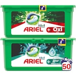 Промо пакет: Капсули за пране Ariel All in One PODS+ Oxi Effect 25 изпирания + Капсули за пране Ariel All in One PODS+ Unstoppables 25 изпирания