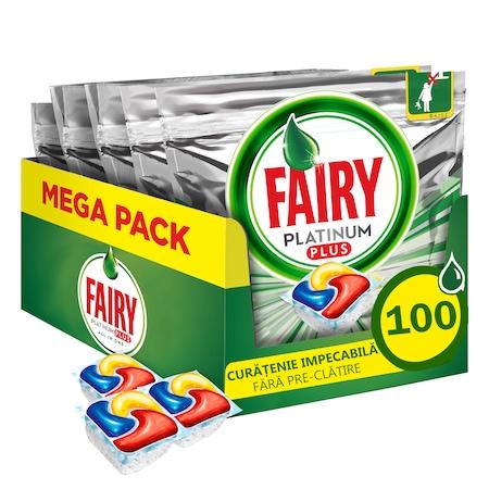 Капсули за почистване на съдове Fairy Platinum Plus, 100 броя