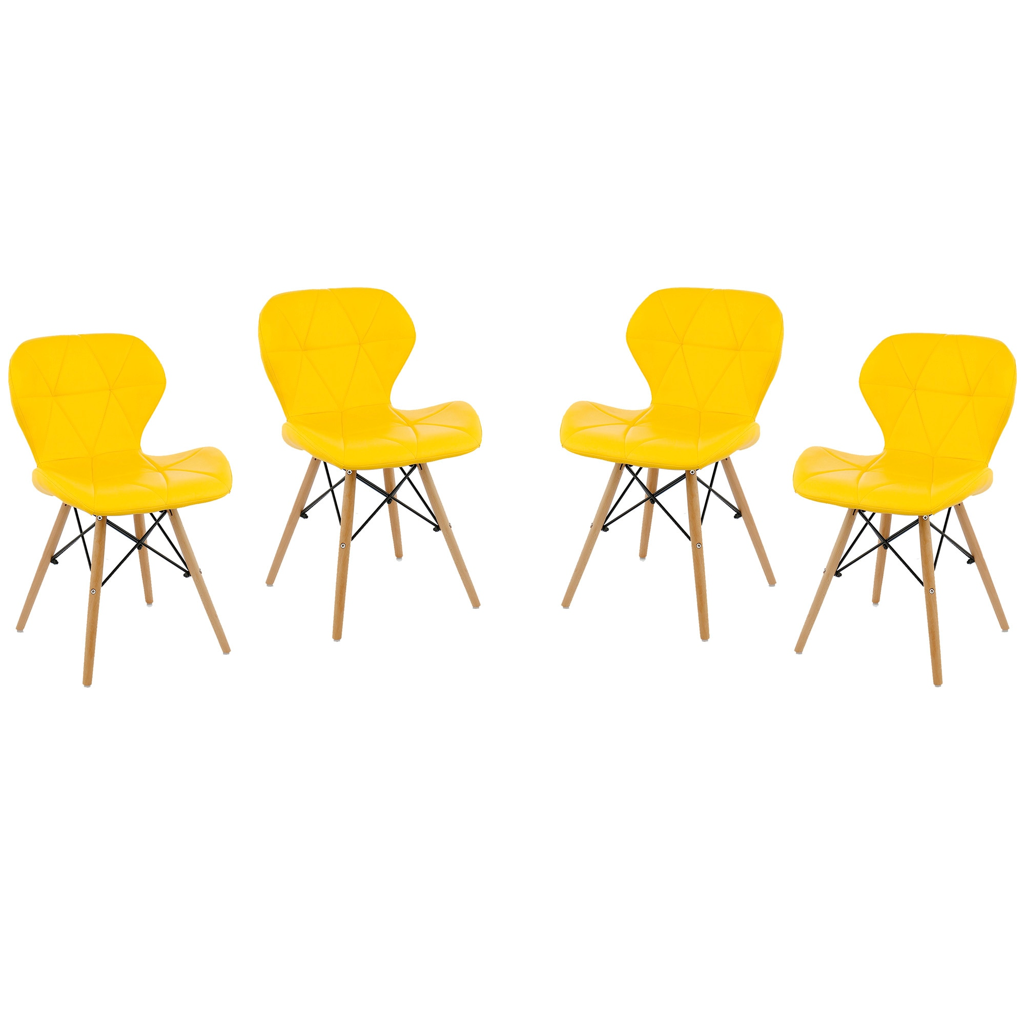 Fotografie Set 4 scaune Kring Rome, lemn / PU, Galben