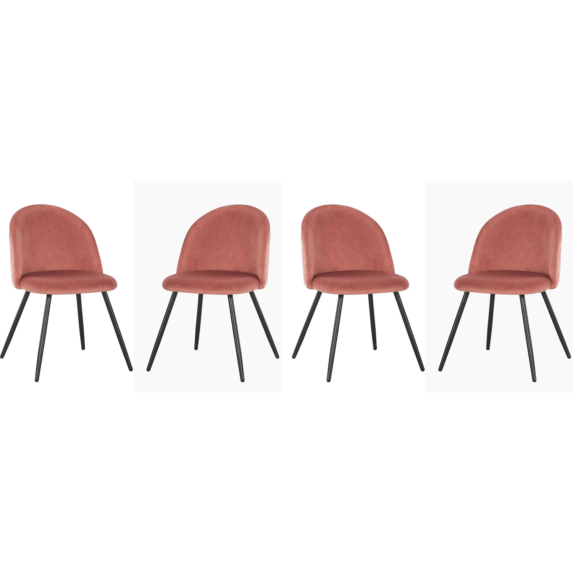 Fotografie Set 4 scaune Kring Davis, lemn / material textil, Roz
