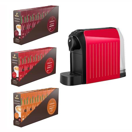 Pachet 24 cutii capsule cafea Tchibo Cafissimo + Cadou: espressor Tchibo Cafissimo easy, Rosu