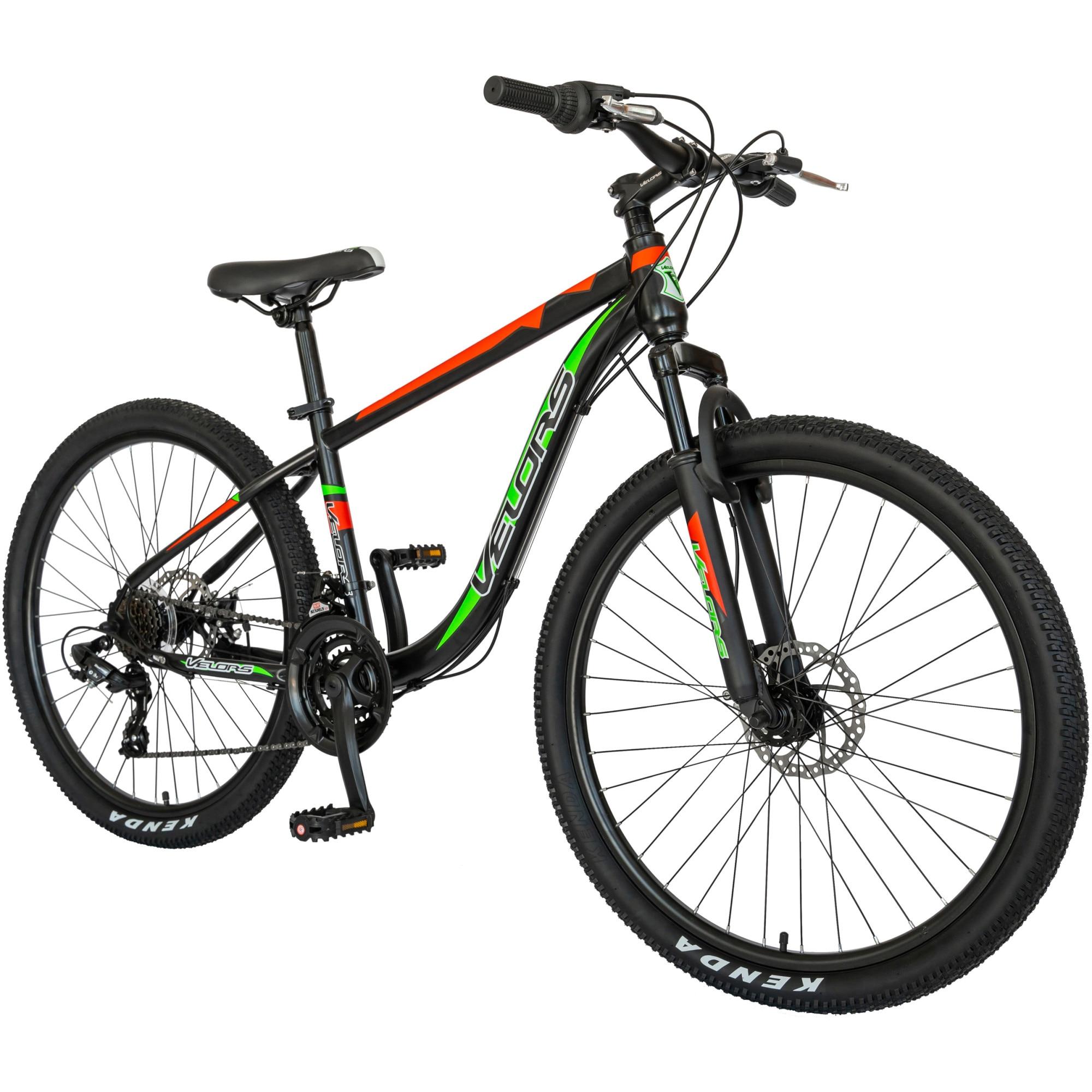 """Fotografie Bicicleta MTB Velors V2611B 26"""", frana disc, transmisie Shimano, negru/rosu/verde"""