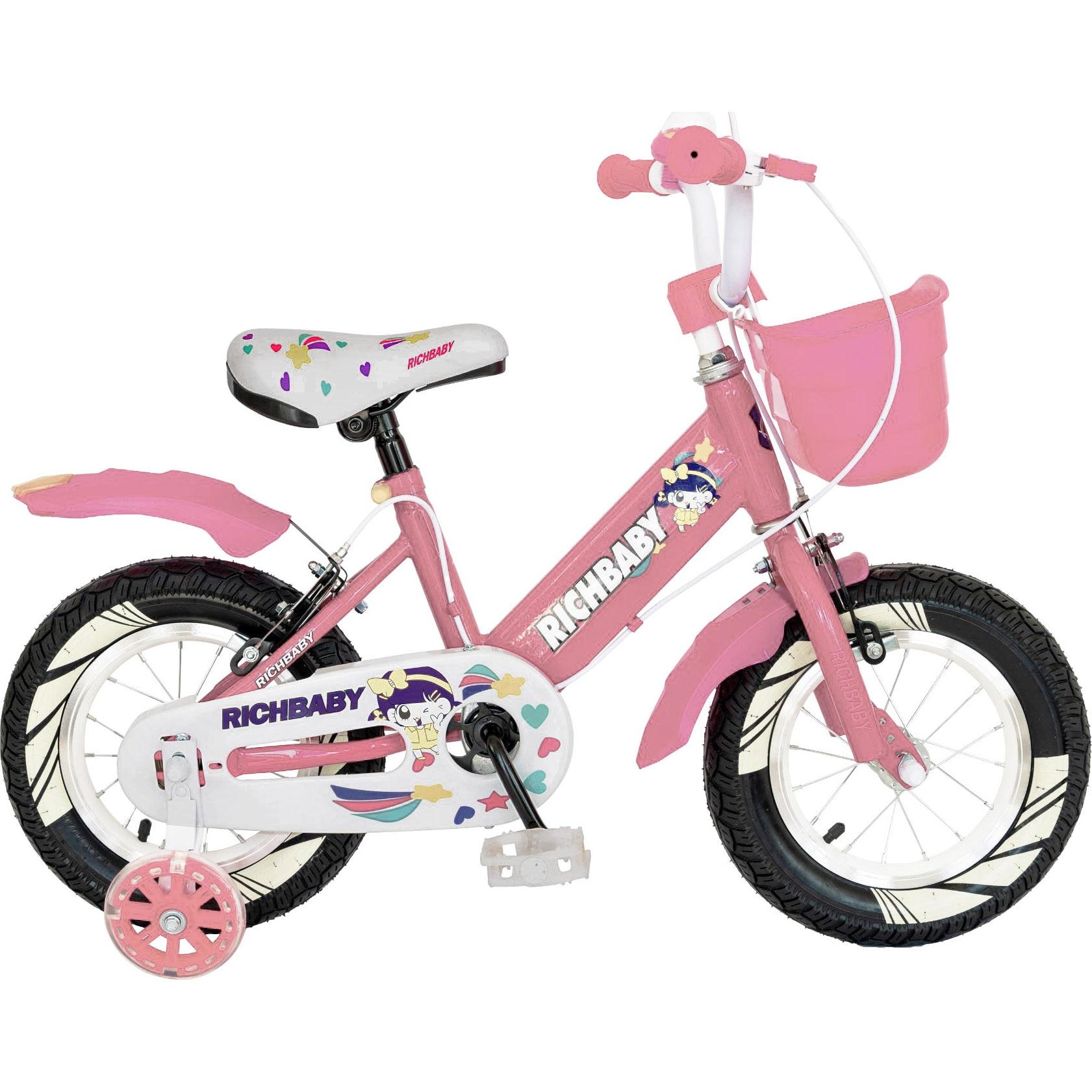 """Fotografie Bicicleta copii 16"""" Rich R1608A, pentru fete, roz"""