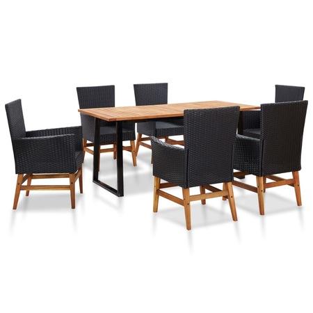 Set mobilier de gradina 7 piese, vidaXL, Poliratan/Lemn, 160 x 80 x 74 cm, Negru