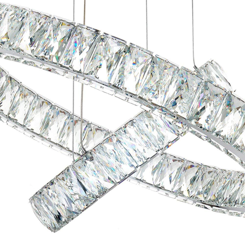 TotulPerfect csillár kerek LED könnyű medál, kristály kristály medál, három gyűrűvel nappali, étkező, hálószoba Márka: TotulPerfect jqh2h5