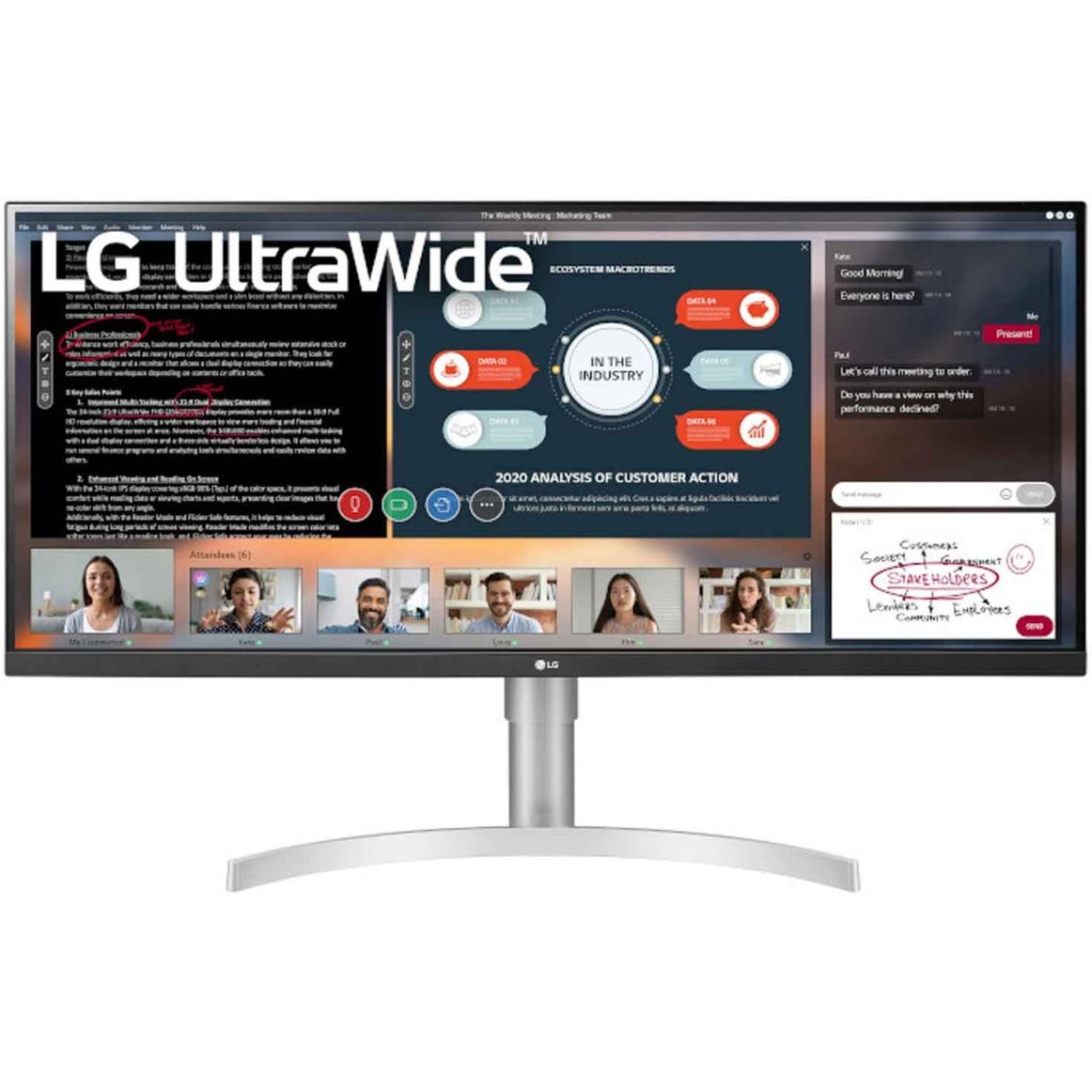 """Fotografie Monitor LED IPS LG 34"""", 2560x1080, DisplayPort, FreeSync, Vesa, Negru, 34WN650-W"""