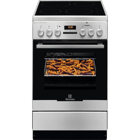 Готварска печка Electrolux EKI54970OX, Витрокерамичен плот, 4 нагревателни зони, Grill, SteamBake, AirFry, Каталитично самопочистване, Клас A, 50 см, Inox