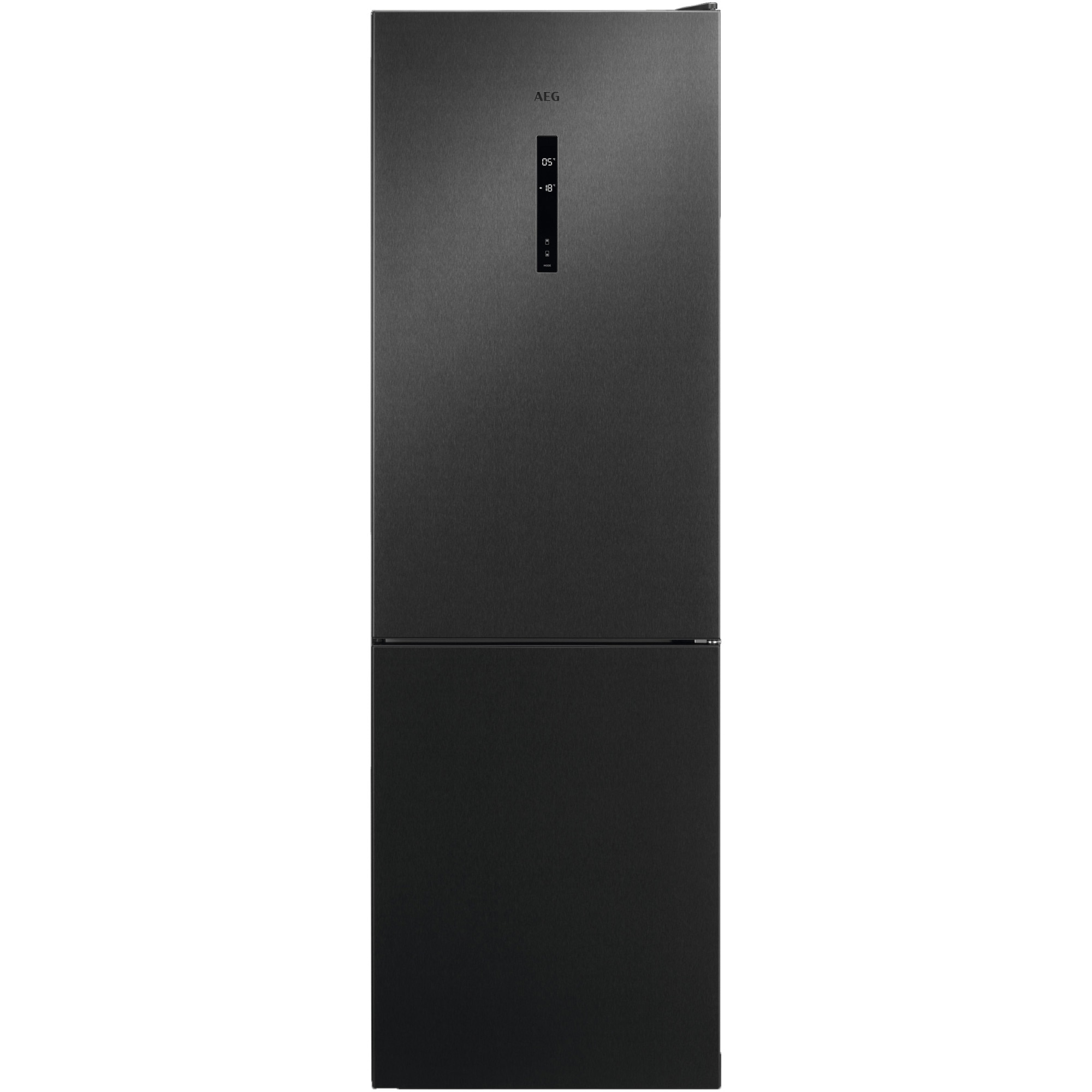 Fotografie Combina frigorifica AEG RCB732E5MB, 324 l, NoFrost, Display, Clasa E, H 186 cm, Inox negru