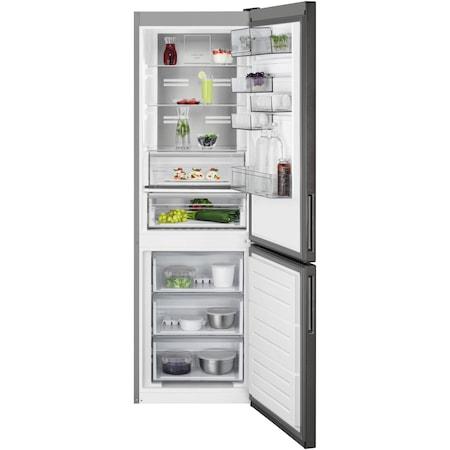 Хладилник с фризер AEG RCB732E5MB, 324 л, NoFrost, Display, Клас A++, В 186 см, Инокс/Черен