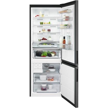 Хладилник с фризер AEG RCB646E3MB, 461 л, NoFrost, Touch control, Клас A++, В 192 см, Инокс/Черен