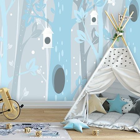 Fototapeta tapeta dla dzieci niebieski bajkowy las 416 x 254