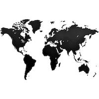 Стенна карта на света MiMi Innovations, дърво, черна, 130х87 см