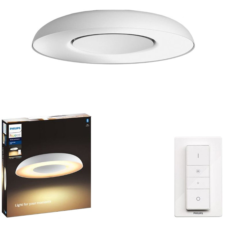 Fotografie Plafoniera LED integrat Philips Still Hue, ZigBee Light Link, Bluetooth, 27W (204W), 2400 lm, lumina ambianta alba (2200-6500K), 39.1 cm, Alb, Intrerupator cu variator inclus