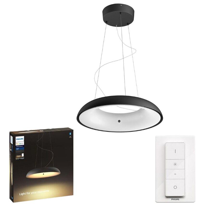 Fotografie Lustra LED integrat Philips Amaze Hue, ZigBee Light Link, Bluetooth, 33.5W (204W), 3000 lm, lumina ambianta alba (2200-6500K), 43.4 cm, Negru, Intrerupator cu variator inclus