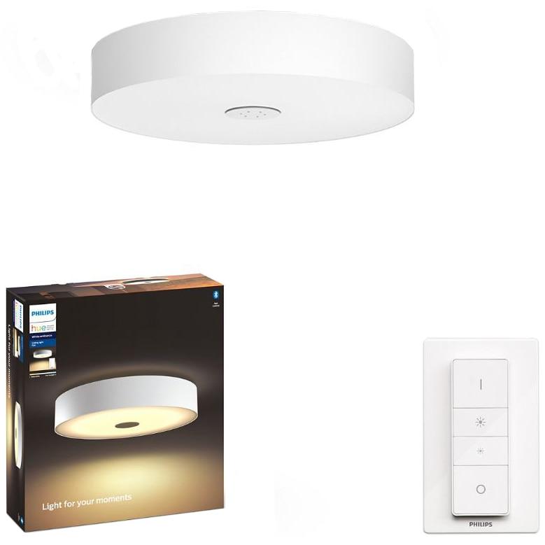 Fotografie Plafoniera LED integrat Philips Fair Hue, ZigBee Light Link, Bluetooth, 33.5W, 3000 lm, lumina ambianta alba (2200-6500K), 44.4 cm, Alb, Intrerupator cu variator inclus