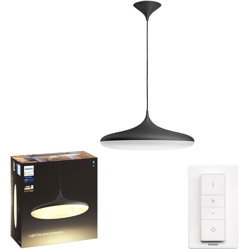Fotografie Pendul LED integrat Philips Cher Hue, ZigBee Light Link, Bluetooth, 33.5W (204W), 3000 lm, lumina ambianta alba (2200-6500K), 47.5 cm, Negru, Intrerupator cu variator inclus