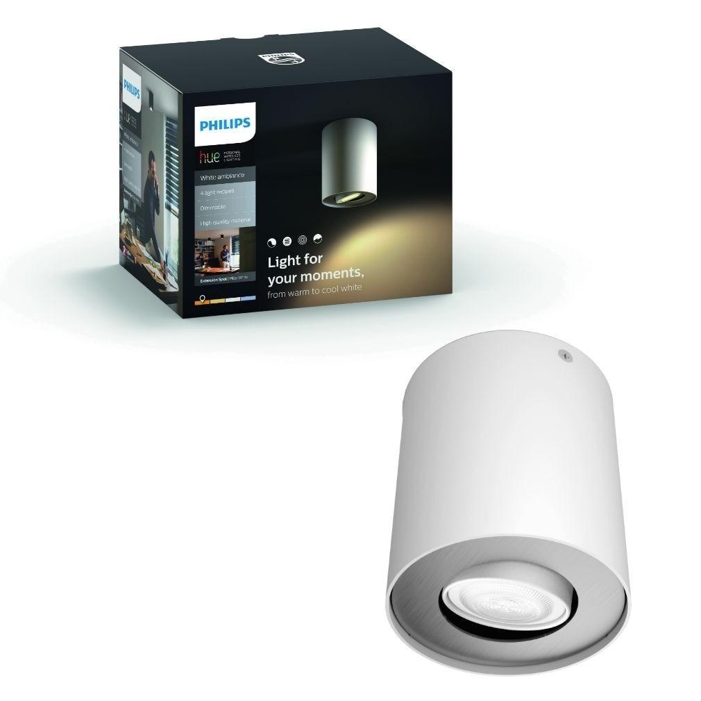 Fotografie Spot luminos Philips Pillar Hue, ZigBee Light Link, Bluetooth, GU10, 5W (50W), 350 lm, lumina ambianta alba (2200-6500K), 10.3 cm, Alb