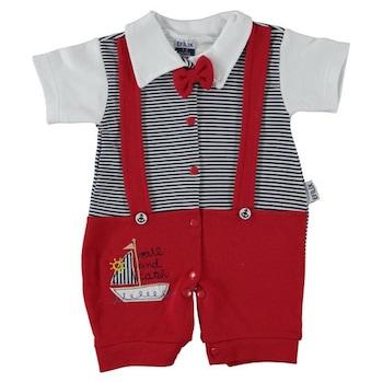 Бебешки момчета гащеризон Efilix, 0-3 месеца, 56-62 см, Бял/Червен