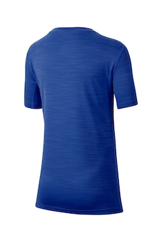 Nike, Фитнес тениска с лого, Турскосин / Бял