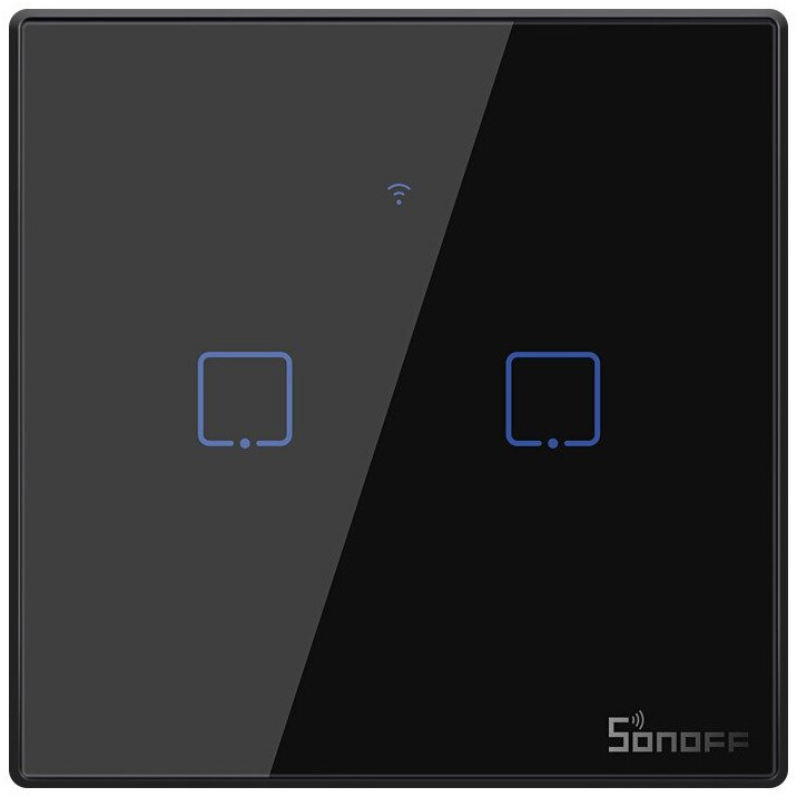 Fotografie Intrerupator inteligent cu touch Sonoff T3 EU TX, Wireless + RF 433, 2 canale, compatibil iOS/Android, Amazon Alexa/Google Assistant, sticla, Negru