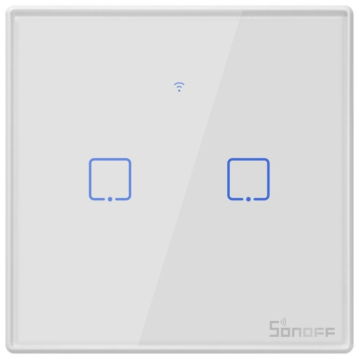 Fotografie Intrerupator inteligent cu touch Sonoff T2 EU TX, Wireless + RF 433, 2 canale, compatibil iOS/Android, Amazon Alexa/Google Assistant, sticla, Alb