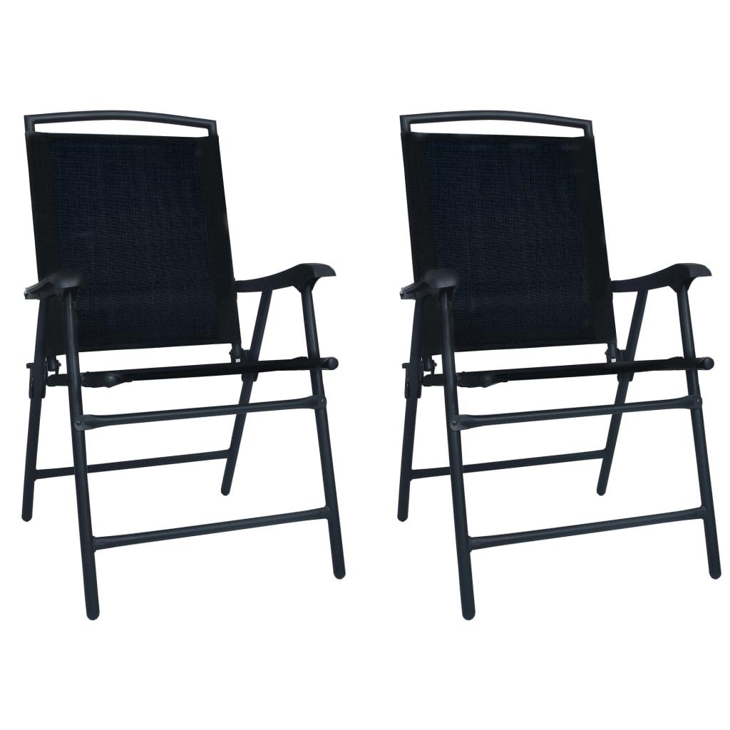 vidaXL 2 db fekete összecsukható kerti textilén szék, 62 x 59 x 93 cm