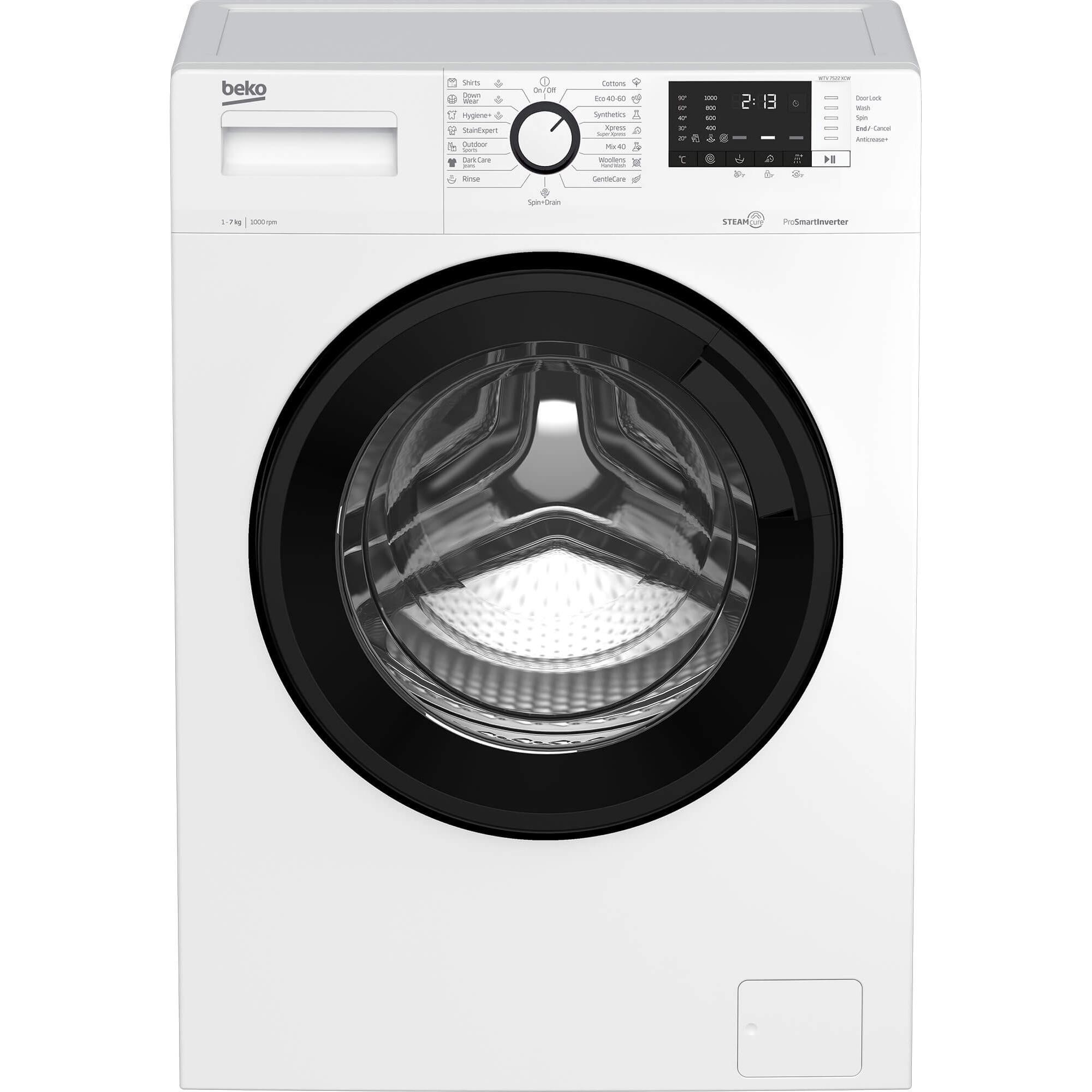 Fotografie Masina de spalat rufe Beko WTV 7522 XCW, 7 kg, 1000 RPM, Clasa D, Motor ProSmart Inverter, SteamCure, Hygiene+, Alb