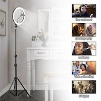 Selfie lámpa állvánnyal, telefontartóval, fényerőszabályzóval, 20 cm