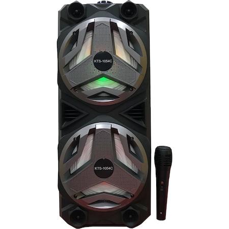 Nagy teljesítményű hordozható aktív Hangfal - Vezetékes Mikrofonnal, Bluetooth funkcióval Akkumulátoros bluetooth hangfal (KTS-1054C) 7325