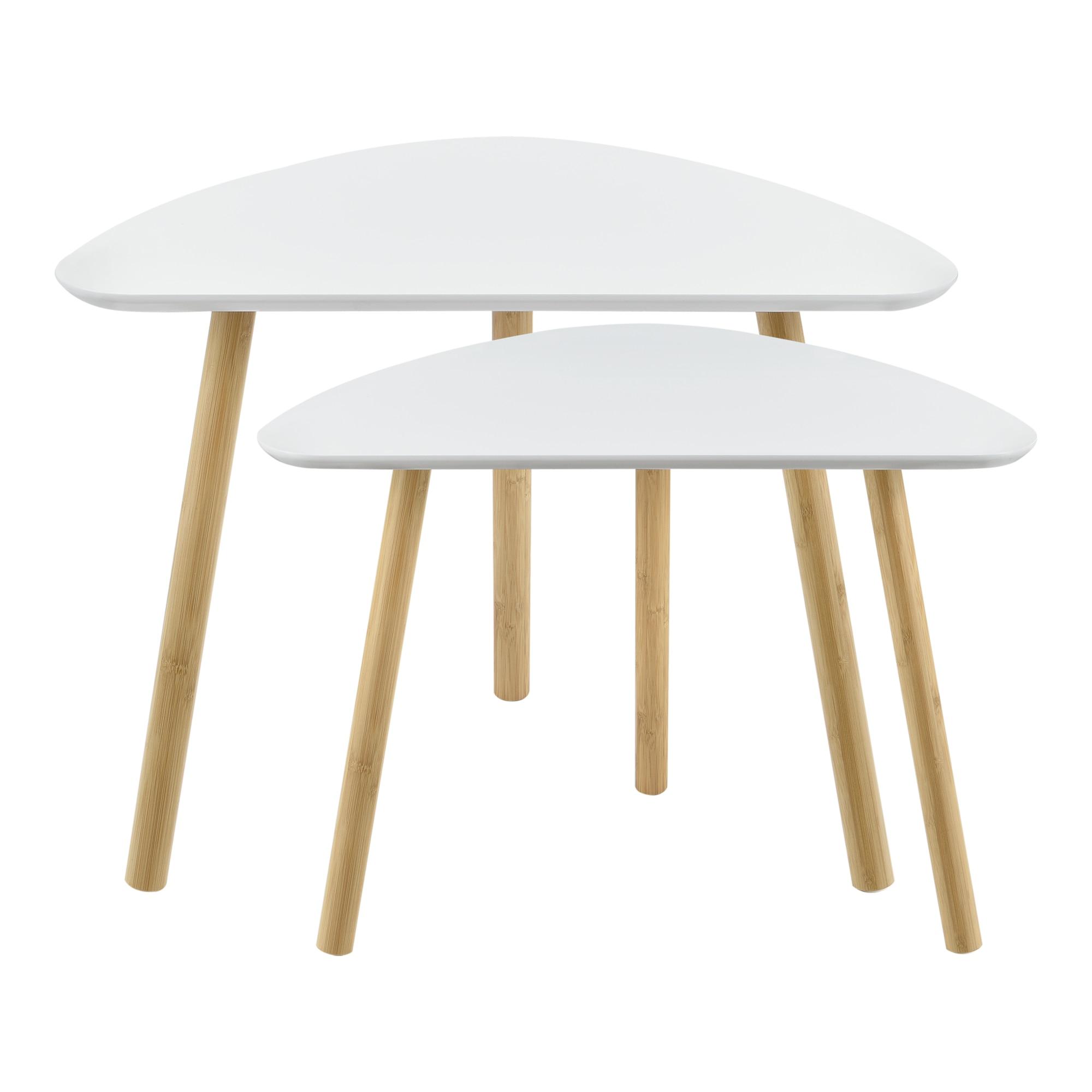 Dohányzóasztal szett Levanger kisasztal 2 db fehér MDF/bambusz [en.casa]® KHyrT8