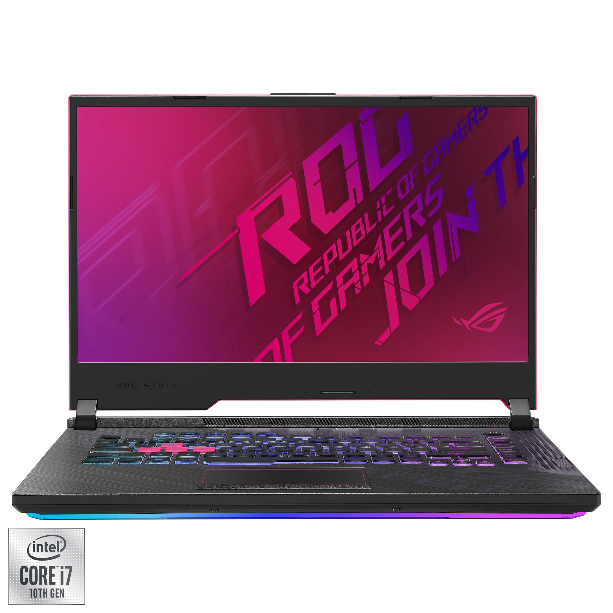 "Fotografie Laptop Gaming ASUS ROG Strix G15 cu procesor Intel® Core™ i7-10875H pana la 5.1GHz, 15.6"" Full HD, 16GB, 512GB SSD, NVIDIA® GeForce RTX™ 2070 8GB, FreeDOS, Electro Punk"