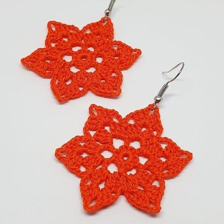 Narancs csillagvirág horgolt fülbevaló