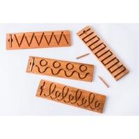 Плочки за писане SmartBaby, Тактилни дървени образователни плочки, 4 броя, Графомоторика, България