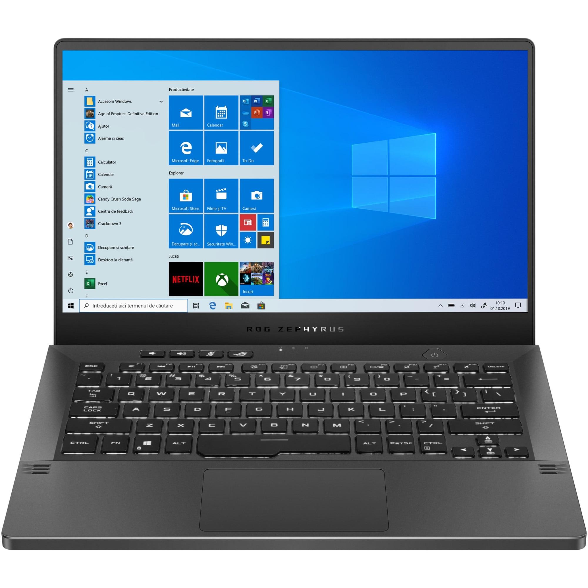 "Fotografie Laptop Gaming ASUS ROG Zephyrus G14 GA401IU cu procesor AMD Ryzen™ 9 4900HS pana la 4.30 GHz, 14"", QHD, 16GB, 1TB SSD, NVIDIA® GeForce® GTX 1660Ti Max-Q 6GB, Windows 10 Pro, Eclipse Gray AniMe Matrix"