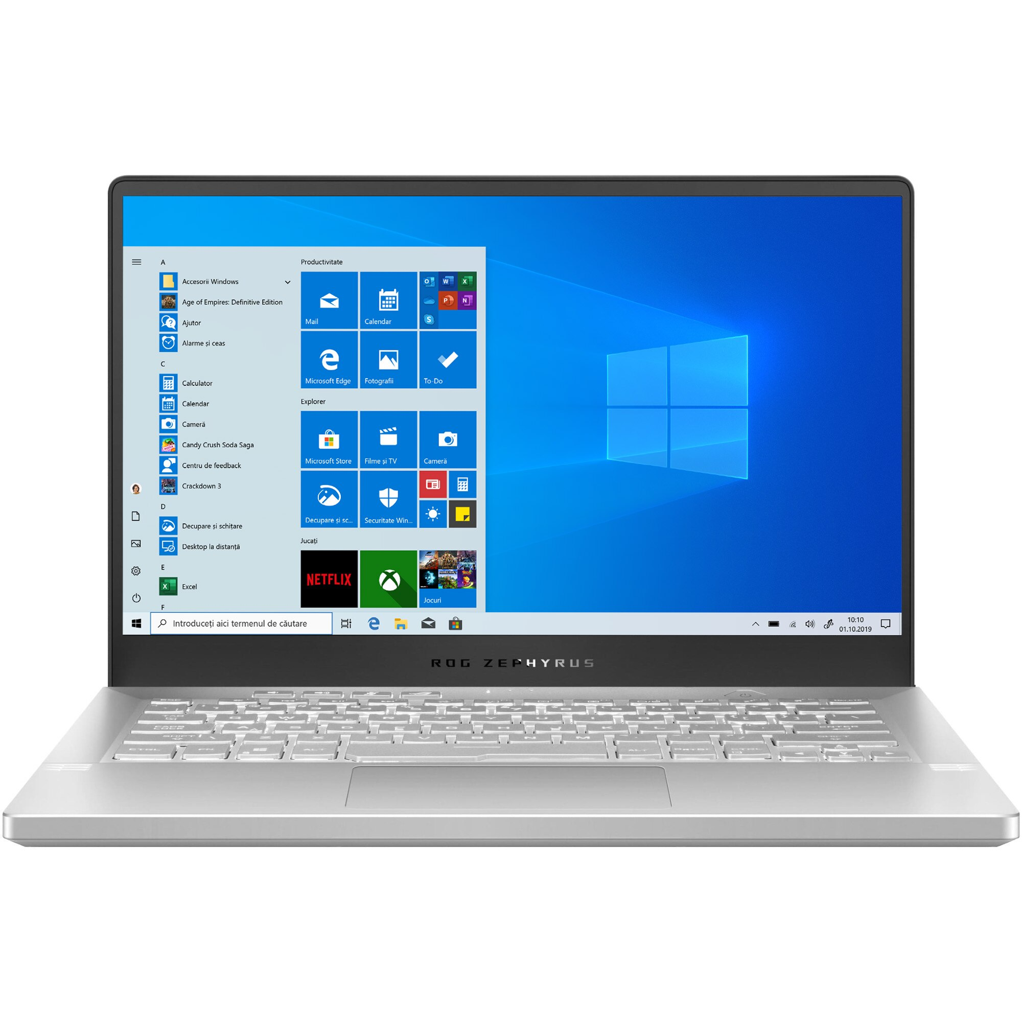 "Fotografie Laptop Gaming ASUS ROG Zephyrus G14 GA401II cu procesor AMD Ryzen™ 5 4600HS pana la 4.00 GHz, 14"", Full HD, 120Hz, 16GB, 512GB SSD, NVIDIA® GeForce® GTX 1650 Ti 4GB, Windows 10 Home, Moonlight White AniMe Matrix"
