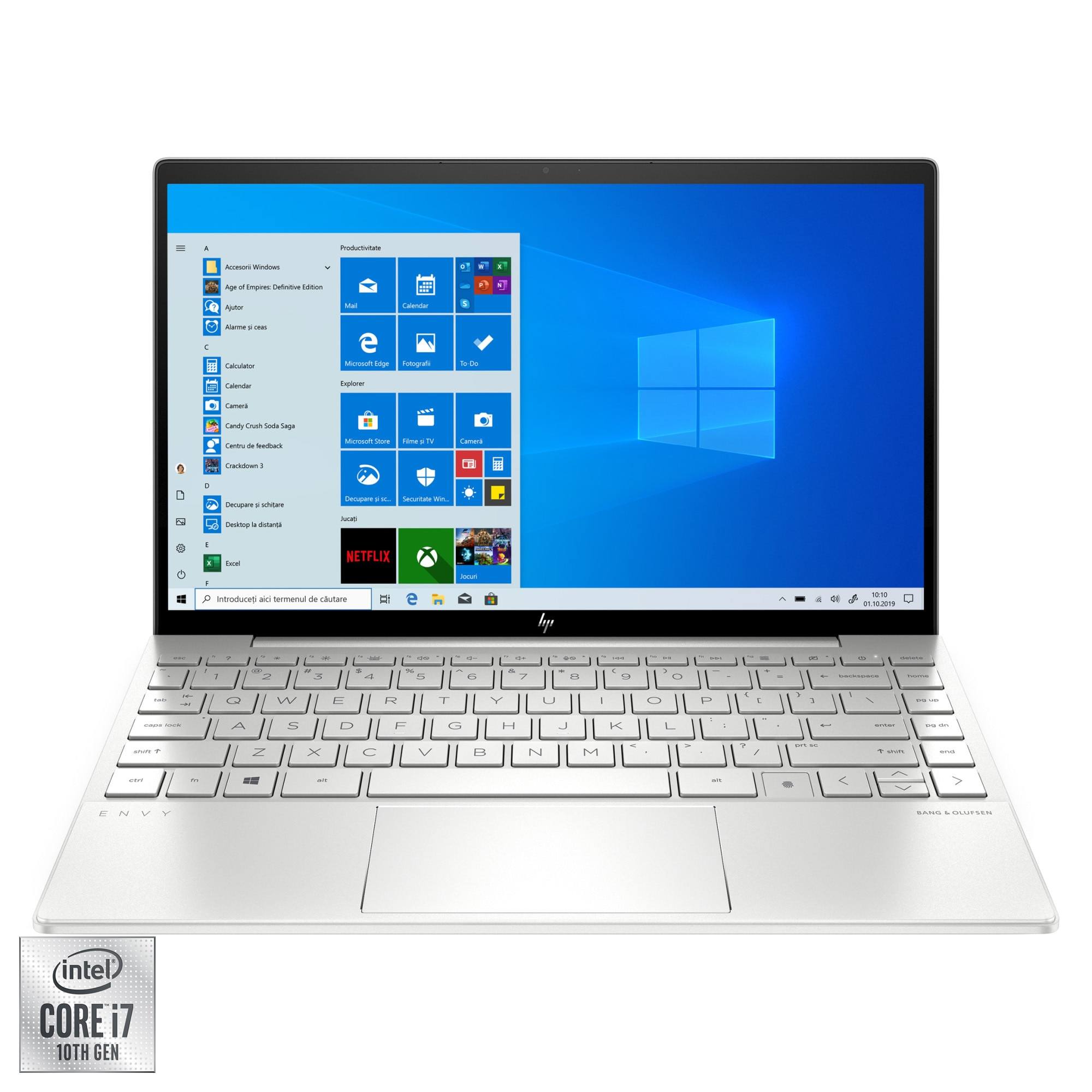 "Fotografie Laptop ultraportabil HP ENVY 13-ba0027nn cu procesor Intel Core i7-10510U pana la 4.90 GHz, 13.3"", Full HD, 8GB, 512GB SSD, Nvidia GeForce MX350 2GB, Windows 10 Home, Natural Silver"
