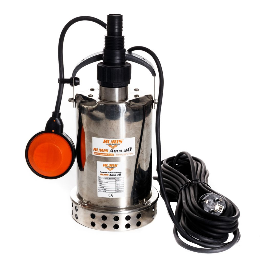 Fotografie Pompa submersibila apa curata de adancime Ruris Aqua 30, 550 W, 45 l/min, 7.5 m inaltime refulare, 35°C temperatura maxima, 10 m lungime cablu