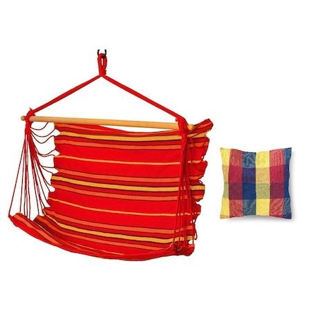 Бразилски хамак Palmonix, Тип стол, С възглавница от памук, Размер 45х45см, Червен