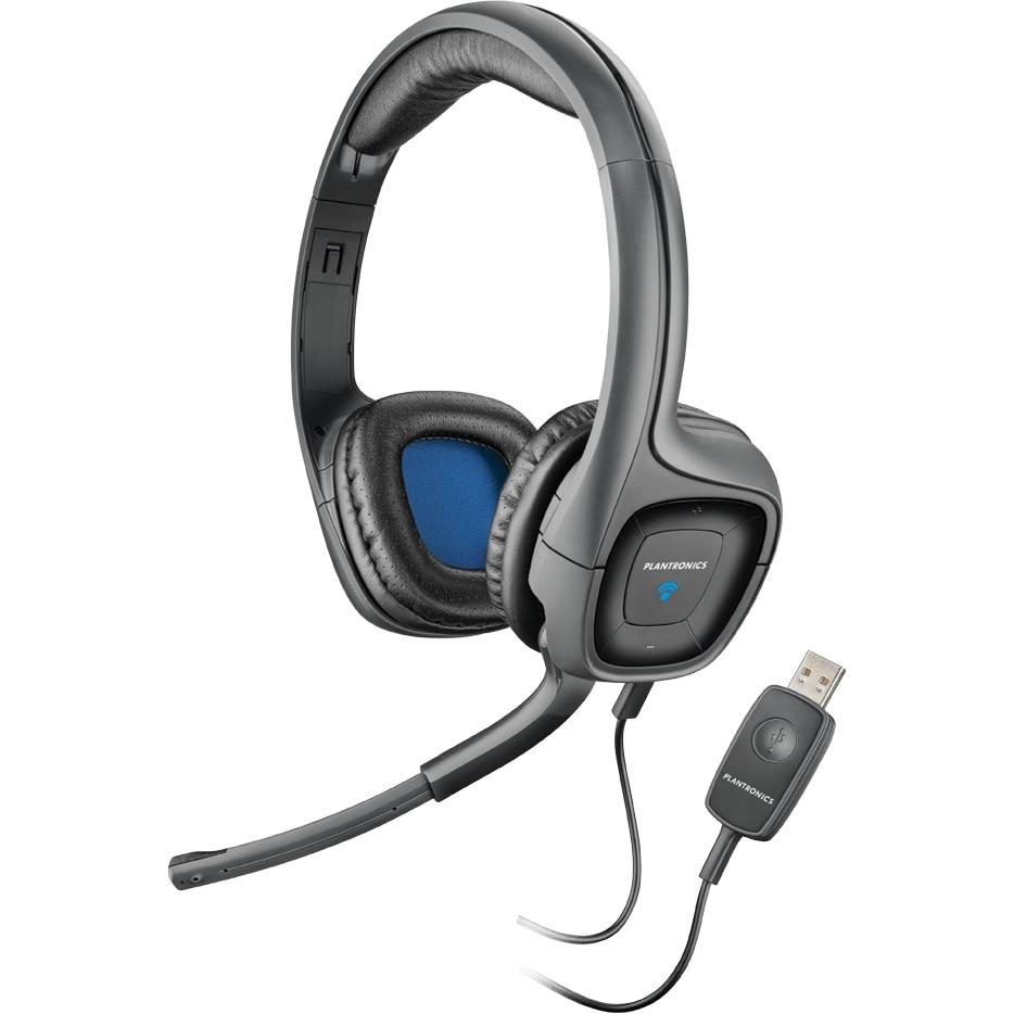 Fotografie Casti cu microfon Plantronics Audio 655, butoane pe casca, USB, Negru