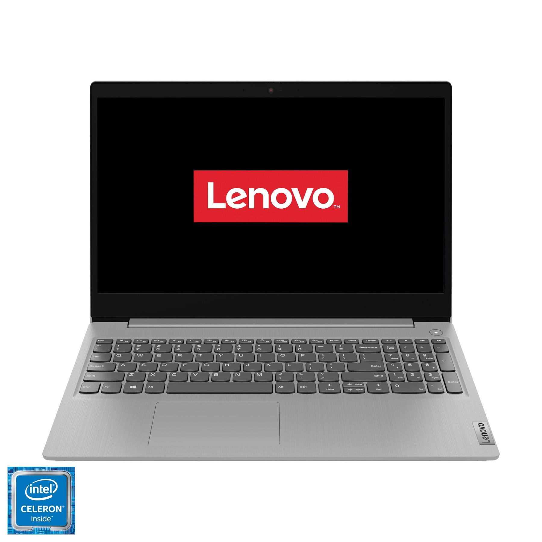 "Fotografie Laptop Lenovo IdeaPad 3 15IML05 cu procesor Intel Celeron 5205U pana la 1.90 GHz, 15.6"", HD, 4GB, 128GB SSD, Intel UHD Graphics, Free DOS, Platinum Grey"