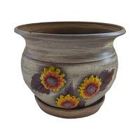 Ghiveci flori, gradina/foisor/balcon, ceramica, 15 x 18 cm, motiv floral, multicolor