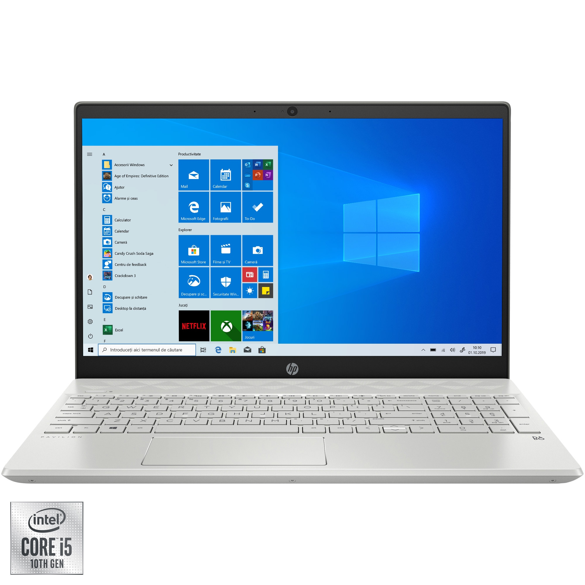 "Fotografie Laptop HP Pavilion 15-cs3024nq cu procesor Intel® Core™ i5-1035G1 pana la 3.60 GHz, 15.6"", Full HD, 16GB, 512GB SSD, Intel® UHD Graphics, Windows 10 Home, Mineral silver"