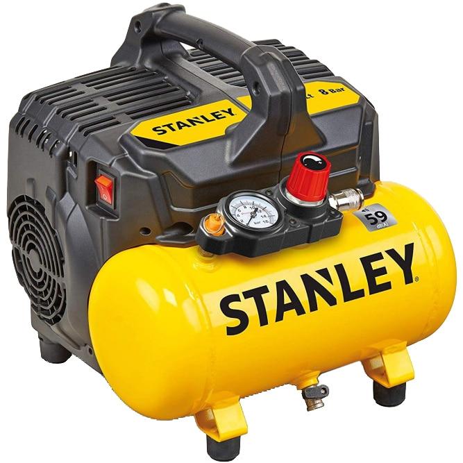 Fotografie Compresor silent fara ulei Stanley DST 100/8/6, 750 W, 1 CP, 8 bar presiune maxima, 105 l/min debit aer, 6 l capacitate rezervor